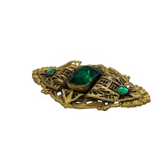 Estate 30's Brass and Green Brooch