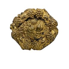 1930's Brass Repousse' Fruit Brooch