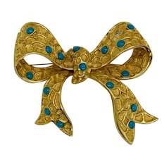 Coro Bow Brooch with Turquoise Cabochons