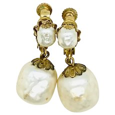 Miriam Haskell Baroque Simulated Pearl Earrings