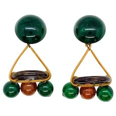 Bakelite Dangle Circle Earrings