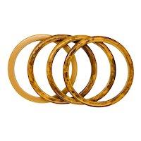 Bakelite Caramel and Brown Spacer Bracelets
