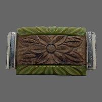Bakelite Brooch with Wood Floral Inlay