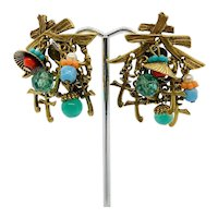 Vintage ART Cha Cha Chinese Earrings