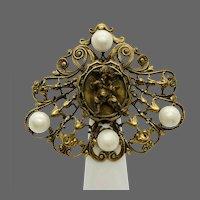 Joseff of Hollywood Rare Cherub Imitation Pearl and Gold-tone Brooch