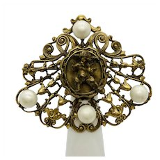 Joseff of Hollywood Rare Cherub Imitation Pearl and Gold-tone Brooch