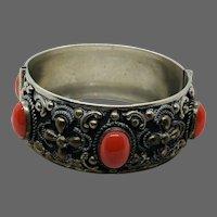 Vintage Metal Faux Coral Cabochon Bracelet