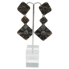 Vintage Christian Lacroix Diamond Shaped Bronze Patina Earrings