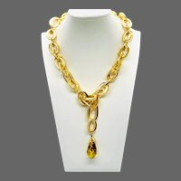French Resin Cheetah Drop Necklace