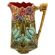 Majolica Art Nouveau French Frie Onnaing #825 Hyacinth Pitcher