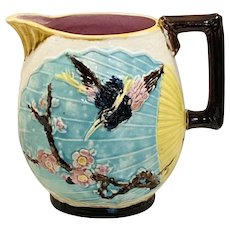 Majolica Wardles Bird and Fan Pitcher