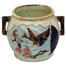 Majolica Wardles Bird and Fan Sugar Bowl