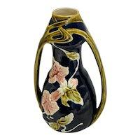 Majolica Art Nouveau Continental Cobalt/Navy Floral Vase