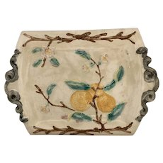 Majolica English Snake Handles & Pear Branch Tray