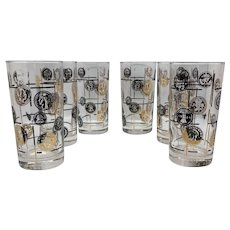 Mid-Century Barware Cera Coin Highball Glassware
