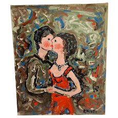 "Rocco Monticolo ""The Kiss"" Mid-Century Modern Abstract Couple"