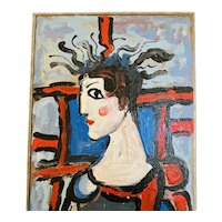 """Rocco Monticolo """"Jester Man"""" Mid-Century Modern Abstract Oil Painting"""
