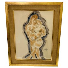 """Sir Nicolaus Koni """"Mother, Father, Child"""" Mixed Media Watercolor and Pencil"""