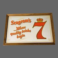 """Seagram's 7 """"Where Quality Drinks Begins!"""" Advertising Mirror"""