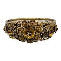 1920s Art Deco Bracelet w/ Czech Citrine Crystals