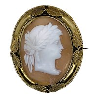 Large 19th Century Neo Classical Cameo Brooch