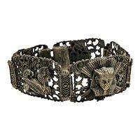 1920s Silver-tone Egyptian Bracelet with Pharaoh's