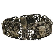 1920s Silver-tone Egyptian Bracelet with Pharaoh's