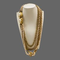 Vintage Multi Chain Nautilus Clasp and Hand Knotted on Silk Faux Pearl Necklace