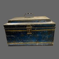 1891 Large Painted Tin Lock Box