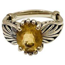Vintage Kabana .925 Sterling Silver Citrine Ring
