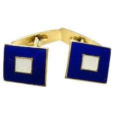 Mid-Century Modern Scandinavian Sterling Blue Enamel Cufflinks