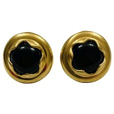 Vintage Black Glass Cufflinks with a Gold Wash