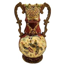 Majolica Austrian Massive Signed Vase