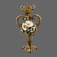 Majolica Art Nouveau Raised Floral Vase
