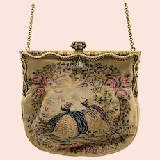 1930s Tapestry Purse with an Ornate Faux Seed Pearl Border & Enamel Painted Floral Frame