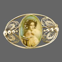 Sterling 19th Century Brooch with Portrait Miniature