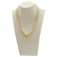 Vintage Richelieu Double V-Strand of Faux Pearls