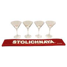 Stolichnaya Vodka Bar Mat & Martini Glasses