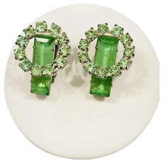 Vintage Gorgeous 1950s Green Rhinestone Earrings