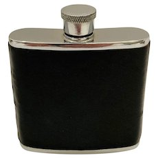 Vintage British Black Leather and Stainless Hip Flask