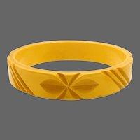 Bakelite Carved Cream Corn Bangle Bracelet