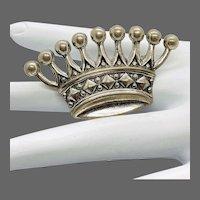 Estate Sterling Silver Crown Form Brooch