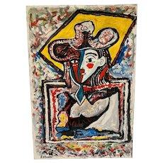"""Rocco Monticolo """"Aristocrat Woman"""" Mid-Century Abstract"""