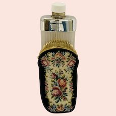 Vintage Ladies Purse Flask in Needlepoint Case