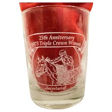 Pair of 25th Anniversary Secretariat Triple Crown Whiskey Glasses