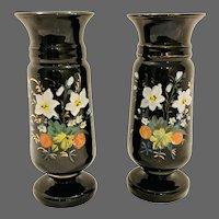 Bristol Glass Black Floral Vases