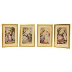 Set of Four Victorian Women's Fashion Prints