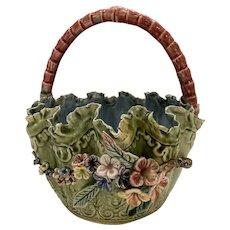 Majolica Barbotine 1800s Floral Basket