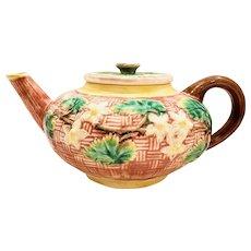 Majolica English 1800s Basketweave Teapot