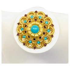 Wonderful Faux Turquoise Cabochon Goldtone Brooch